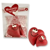 Marzipan hearts in cellophan bag and tray