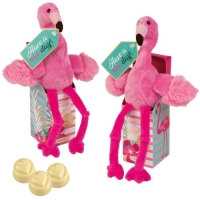 12 pcs Plush flamingo in box, with white chocolate pralines