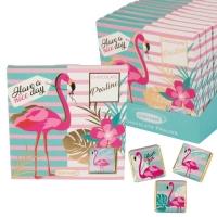 16 pcs Chocolate praline box flamingo with napolitains