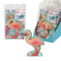 10 pcs Marzipan Flamingo in cellophan bag with tray