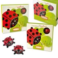 Praline gift ladybird, filled with choco ladybirds