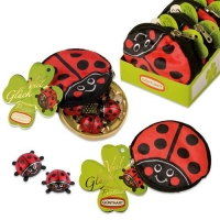 16 pcs Plush pouch ladybird filled with chocolate ladybirds