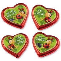 40 pcs Chocolate hearts large with ladybird motives