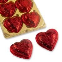 16 pcs Large praline heart with heart decoration