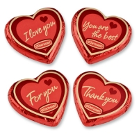 Large praline hearts, red