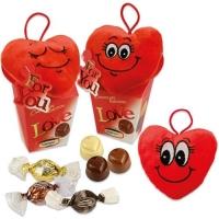 12 pcs Plush heart Love on Box, assorted