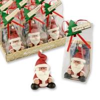 12 pcs Marzipan Santa in cellophane bag with tray